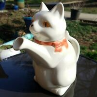Goebel West Germany Cat Teapot with Pink Bow