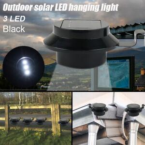 Solar Sensor 3 LED Gutter Patio Lights Outdoor Wall Fence Landscape Garden Lamp