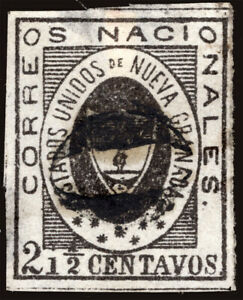 COLOMBIA 1861 Coat of Arms 2½c. black Scott # 13 used VF