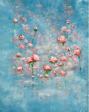 PINK PAINTED FLOWERS ON BLUE BACKDROP BACKGROUND VINYL PHOTO PRO 5X7FT 150x220CM