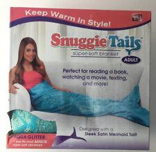 Mermaid Blanket Blue Agua Gold 61 X 36  Inch Adult Snuggle Tails
