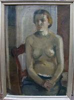 Interieur mit weiblichem Halbakt, unleserlich signiert, um 1940