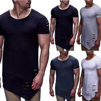 New Men's Slim Fit Irregular Short Sleeve Muscle Tee T-shirt Casual Tops Blouse