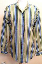 Liz Wear Multi-colored Long Sleeve Blouse size M Vertical Stripes Button Front