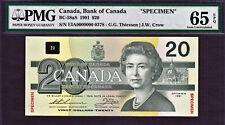 Canada $20 SPECIMEN 1991 BC-58aS GEM UNC PMG 65 PPQ