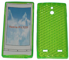 For Sony Xperia P LT22i LT22 Pattern Soft Gel Case Protector Cover Green New UK