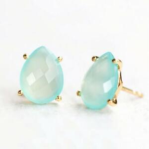 10x12mm Chalcedony Pear Gemstone Stud Earrings Prong set 925 silver gold Jewelry