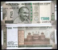 INDIA 500 RUPEES 2017 P NEW DESIGN BLIND FEATURE AUNC ABOUT UNC