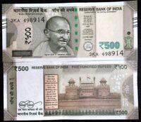 INDIA 500 RUPEES 2017 P NEW DESIGN BLIND FEATURE AUNC ABOUT UNC