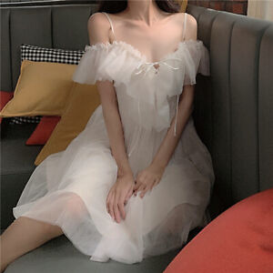 Tulle Ruffle Dress Sweet Fairy Princess Off Shoulder Midi Prom Ball Gown Elegant