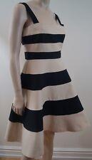 JAEGER Ladies Black & Cream Striped Sleeveless Skater Skirt Dress UK10 BNWT