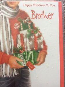 Lovely Modern Design Brother Christmas Card. Lovely Words.