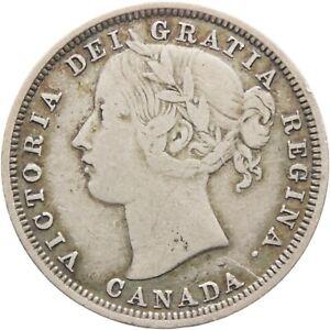 Rare 1858 20 Cents Canada Silver Coin Queen Victoria (MO2002-)