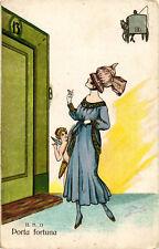 "Minos (Mario Gazzera) - Art Deco - ""Donnina"", Lady - Porta Fortuna Angelo - M014"