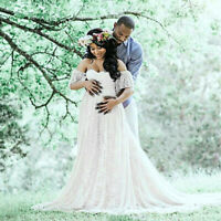 Women's Floral Lace Short Sleeve Photography Fly Sleeves Off Shoulder Long Dress