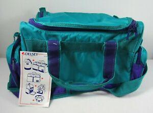 OK DELSEY Teal/Blue & Purple Holdall Duffle - Gym Bag - Luggage - Retro/Vintage