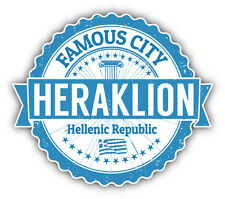 "Heraklion City Greece Grunge Travel Stamp Car Bumper Sticker Decal 5"" x 4"""