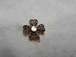 Vintage antique gold tone brooch pin 4 leaf clover shamrock mother of pearl