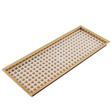 """14 7/8"""" Flanged Mount Draft Beer Drip Tray - Brass w/Drain, Bar/Counter Mounted"""