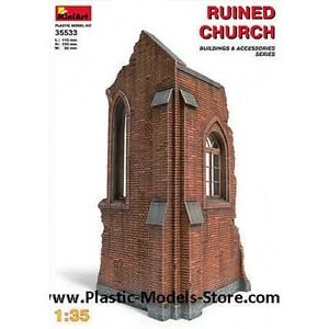 Miniart 35533 Diorama Ruined Church Building 1/35 Scale Plastic Figure Model Kit