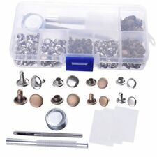 120 Set 6/8mm Double Cap Rivets Metal Fixing Tool Kit for Leather Craft Repair
