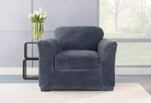 Stretch Plush Two Piece Chair Slipcover storm blue new