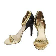 Fergie Womens 8.5 Sandal Stiletto Heels Shoes Black Gold Ankle Strap Studded