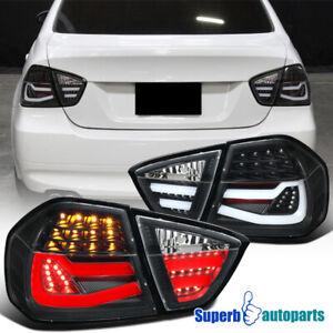 For 2005-2008 BMW 3 Series E90 4Dr Sedan Black Tube LED Tail Rear Brake Light