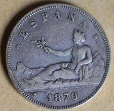 PLATA moneda de 5 pesetas año 1870 *--*--  SN M Gobierno Provisional España