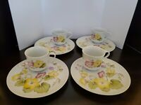 Set of 4 Snack Plates and Cups WINDSOR GARDEN by Seymour MANN Floral
