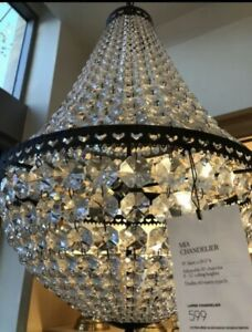 "Pottery Barn Mia Crystal Chandelier, Large, 19"" Diameter, Antique Bronze Finish"