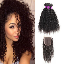 "Peruvian Virgin Human Hair Kinky Curly With Lace Closure 3 Bundles 4""x4"" Closure"