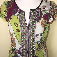 ECI NEW YORK Women's Dress Beaded Sequins Summer  Multi-colors  Size 8