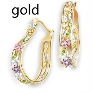 Creative 14k Yellow Gold Multi-Color Gemstone Flower Earrings Wedding Jewelry