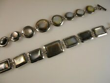 Square Abalone And Round Abalone With Metal Toggle Clasp Bracelets