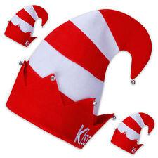 """3 x Narrenkappe /-mütze rot-weiß-gestreift mit Glöckchen + Schriftzug """"KISS ME!"""""""
