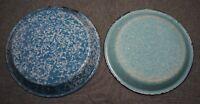 "Graniteware Agateware Enamelware BLUE & WHITE PIE PLATES (2) - 9 3/4"" & 9 1/8"""
