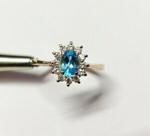 Blue Topaz Engagement Ring Natural Blue Topaz Solitaire Ring 1 Ct