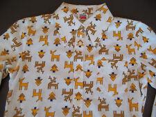 Girls 1970's Mod Deer Motif Top Blouse Long Sleeve Button Down Retro Vintage 6 7