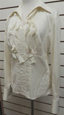Etcetera Ivory Beige Dot Ruffled Pull Over French Cuff Blouse Size 6
