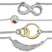 Amberta 925 Sterling Silver Adjustable Chain Necklace with Pendant for Women