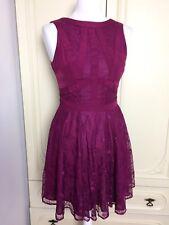Oasis Mulberry Pink Lace Layered Sleeveless Dress Size 8 Mini Short