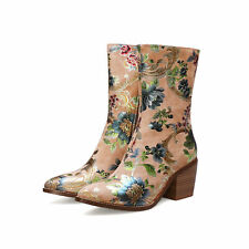 Block heels boots womens ankle shoes booties flowers-print fashion ladys stylish