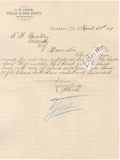1893 J. B. LAKE Hampton Virginia VA dealer in REAL ESTATE letterhead