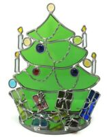 "Stained Glass Christmas Tree Handmade 9"" One of a Kind"