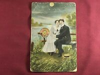 Vintage Postcard mailed 1908 Romantic - couple sitting by the water moon light