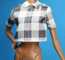 Barbie Pink Passport Gray Off White Plaid Print Shirt REGULAR  Fashionistas