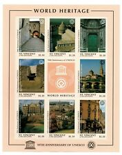 St. Vincent 1997 UNESCO World Heritage, Italy, England - Sheet of 8 Stamps - MNH