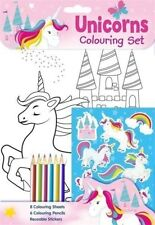 ** KIDS UNICORN COLOURING SET WITH STICKERS NEW ** PENCILS CRAFT GIRLS