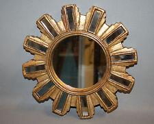 Glace / miroir soleil avec 12 barrettes en miroir Diam 24,4 cm patine dorée